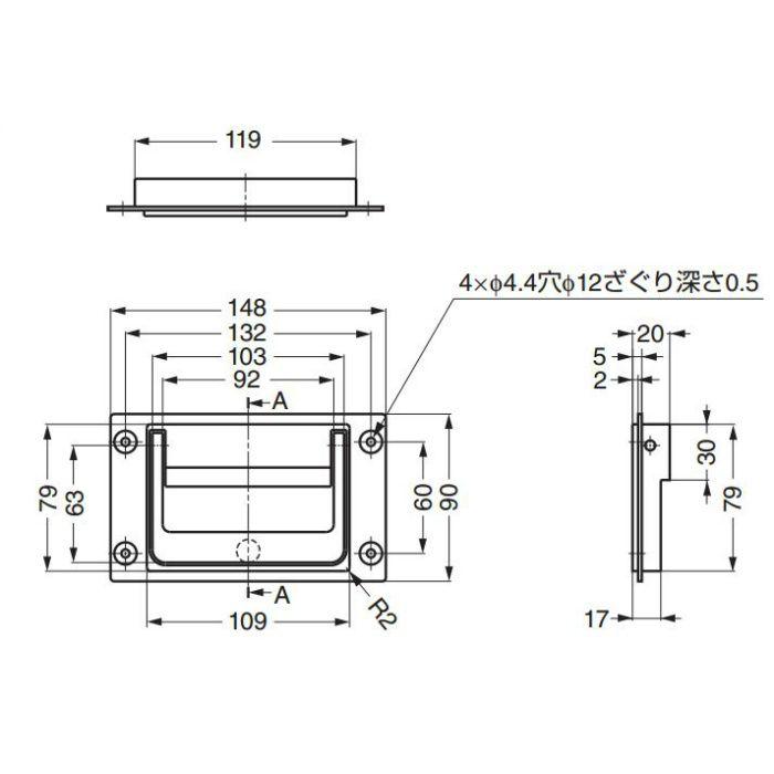 ランプ印トランクハンドルPT-148 PT-148 100-019-183