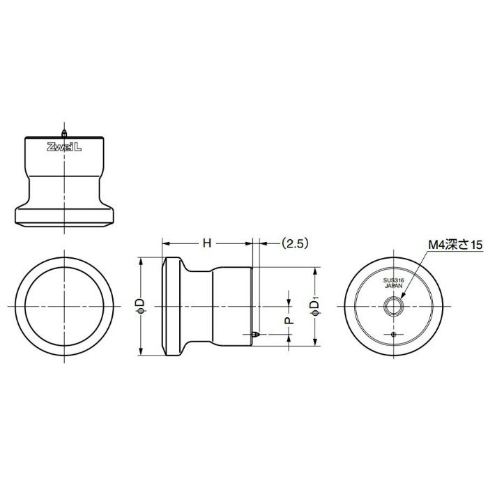 ZweiLステンレス鋼(SUS316)製つまみZL-1906型 ZL-1906-28 100-011-018
