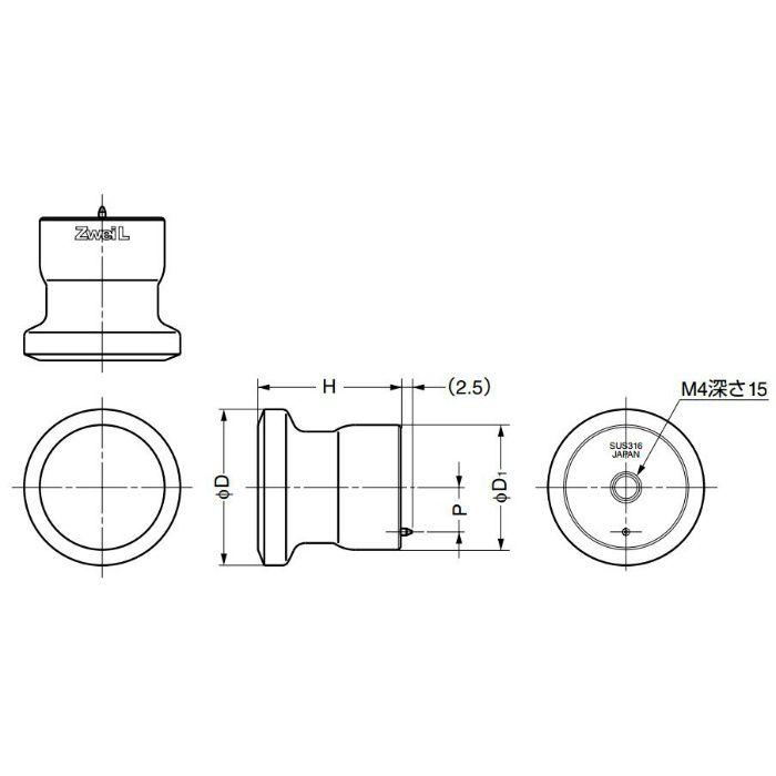ZweiLステンレス鋼(SUS316)製つまみZL-1906型 ZL-1906-36 100-011-017