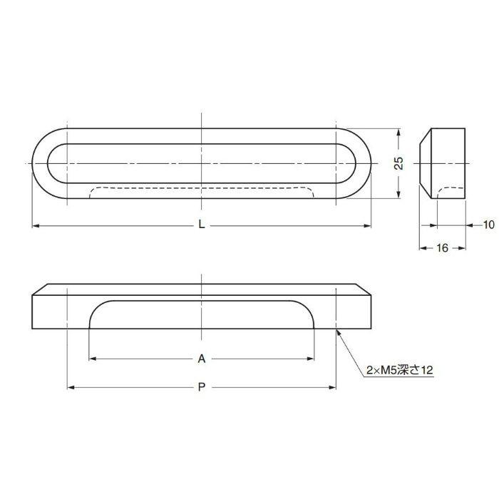 ZweiLステンレス鋼(SUS316)製引手ZL-2503型 ZL-2503-160 100-010-974