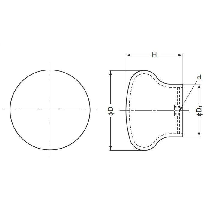 ランプ印ステンレス鋼製つまみRSS型 RSS-50S 100-011-197