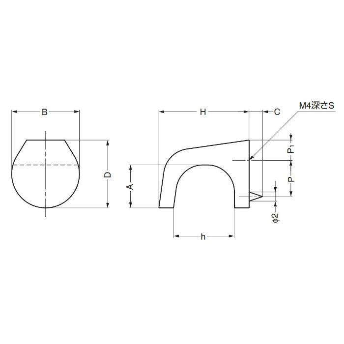 ランプ印ダイカストモダンつまみMKZ型 MKZ-15SB 100-018-046