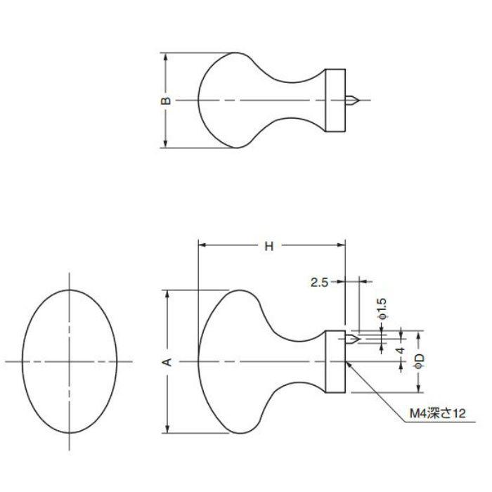 真鍮つまみB671型 B671-25PB 100-012-767