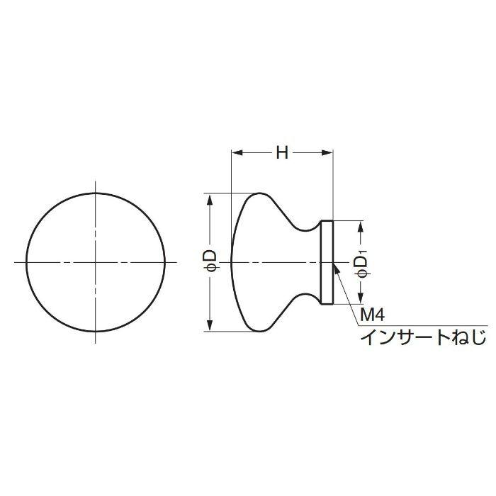 ランプ印白木丸つまみSMT型 SMT45 100-012-004