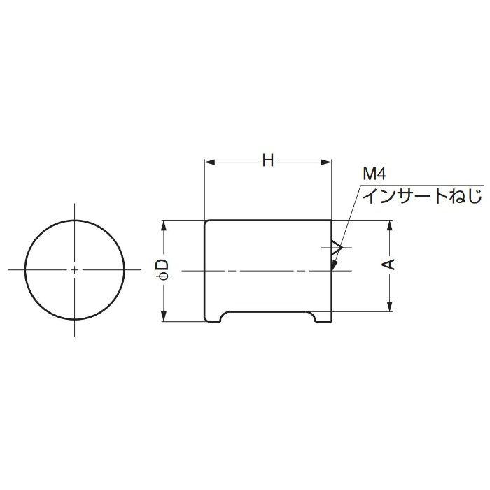 ランプ印白木丸棒つまみSMRB型 SMRB24 100-012-008