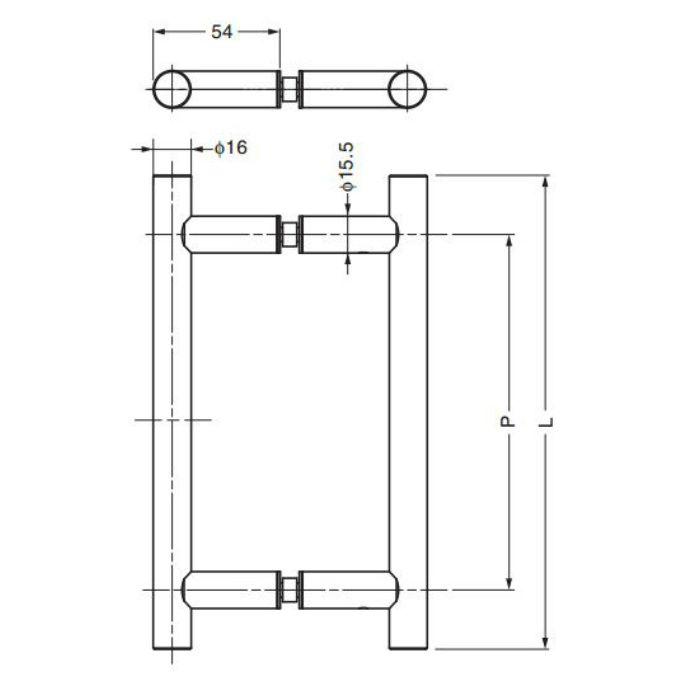 P&Sステンレス鋼(SUS316)製ドアハンドル8060VA型 8060VA-300 1セット 100-022-767