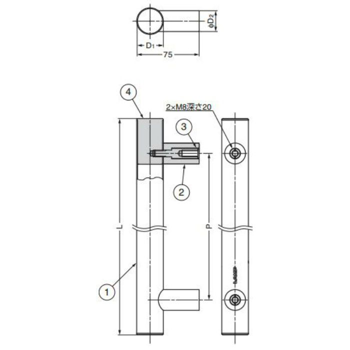 ランプ印ステンレス鋼製ハンドルSSH型 SSH-2560 100-181-414