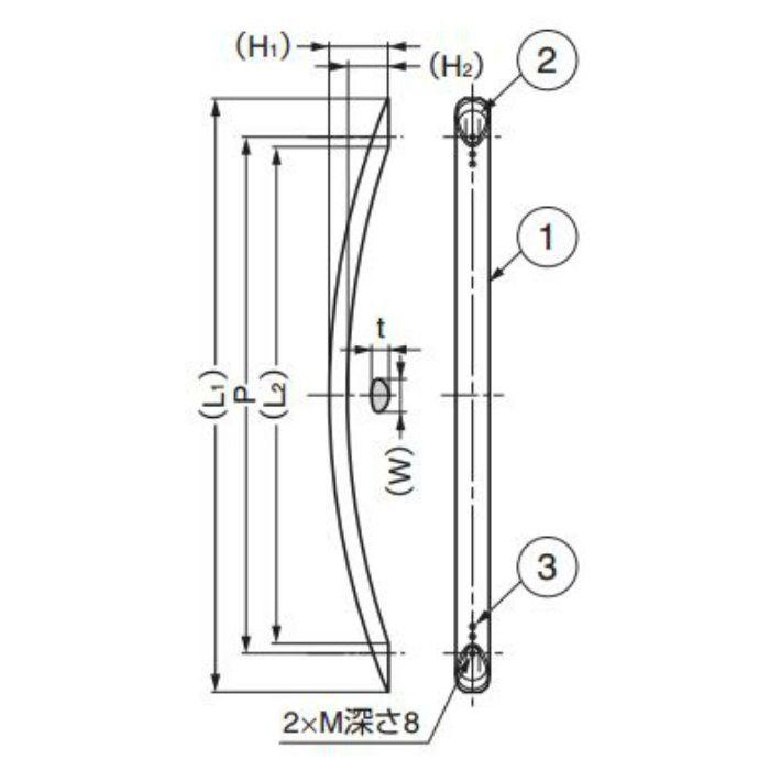 ランプ印アルミ弓形ハンドルSOR型 SOR-400BL 100-010-963