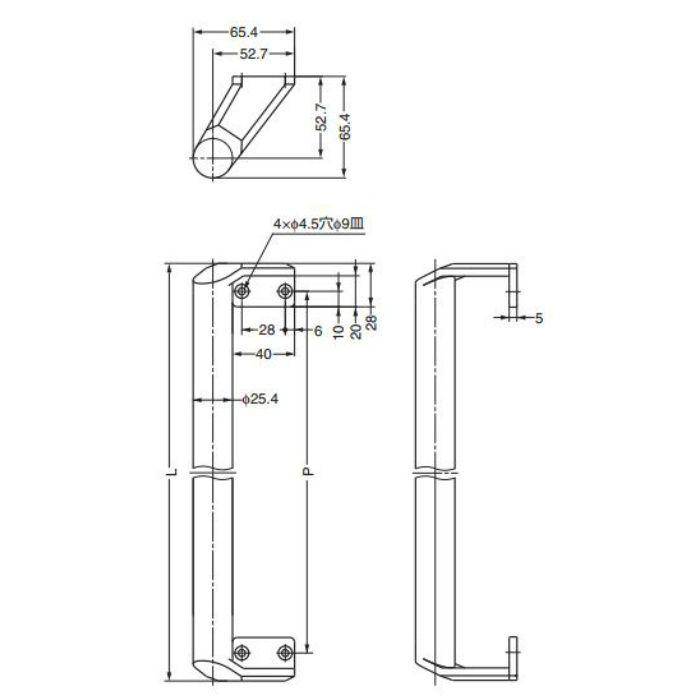 ランプ印ステンレス鋼(SUS316)製面付ハンドルMP型 MP-500 100-010-500