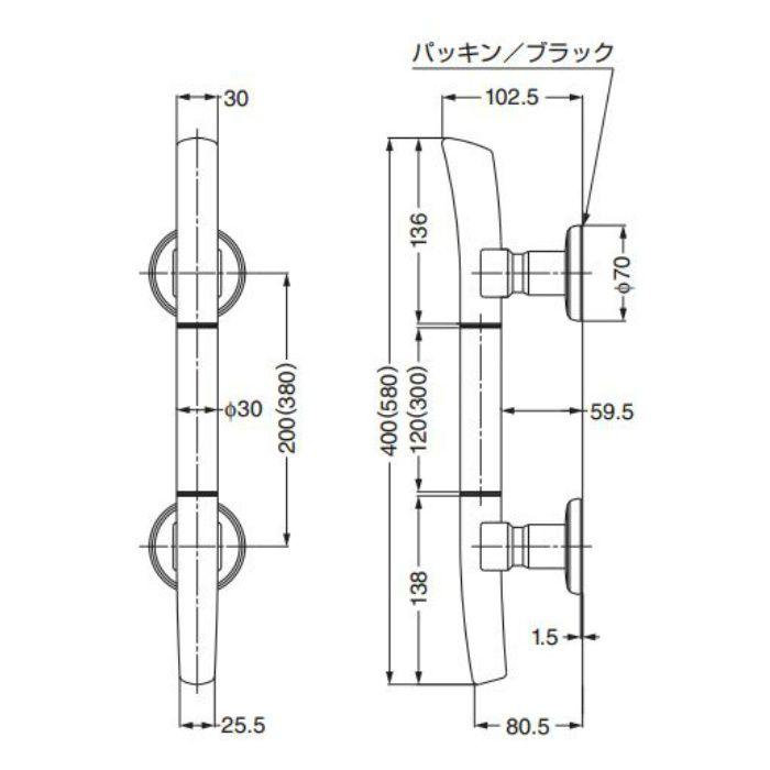 ランプ印たまづさドアハンドルDTM-B型 DTM-B400GA 1セット 100-173-776