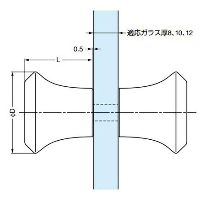 ガラス用つまみDG-BT2型 DG-BT2/40-CR 1セット 100-010-456