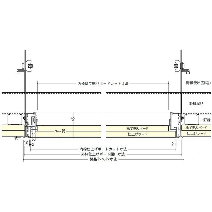 62116343 シルバー アルミ リーフ額x目地303吊り金具タイプ 天井点検口 外額x内目地タイプ