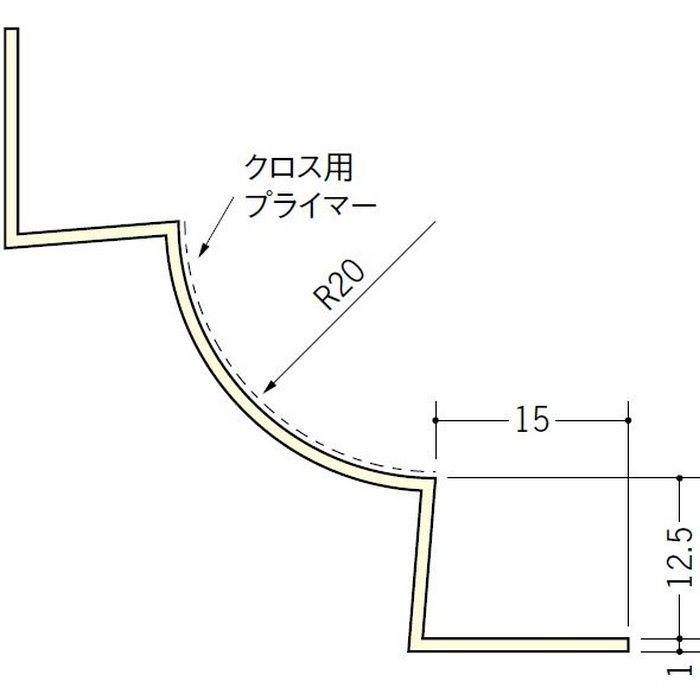 ペンキ・クロス下地材 入隅 ビニール 丸面入隅20R-12.5A ミルキー 2.5m  01274
