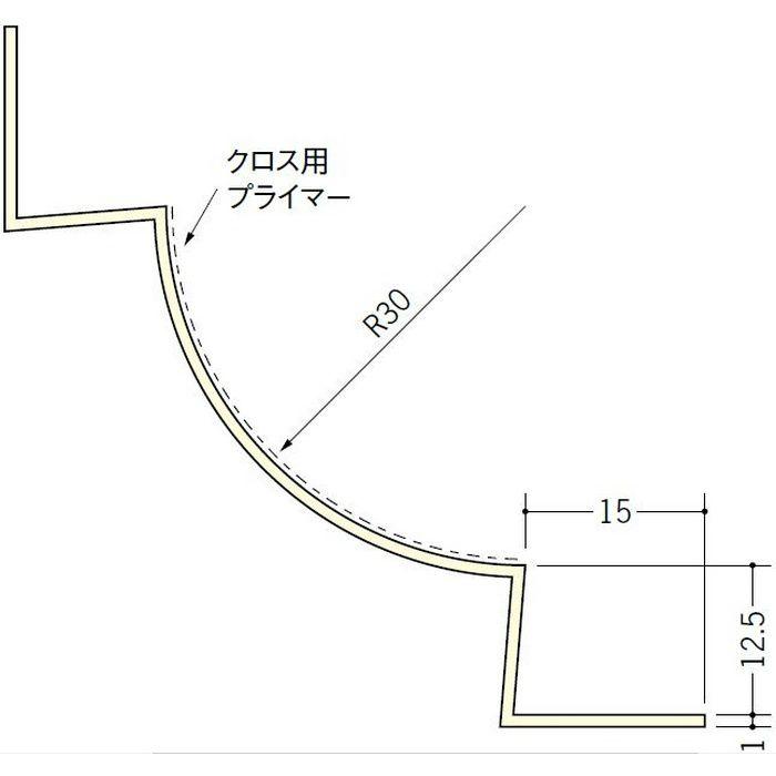 ペンキ・クロス下地材 入隅 ビニール 丸面入隅30R-12.5A ミルキー 2.5m  01278