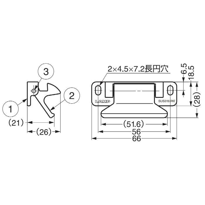 ランプ印オールステンレス鋼(SUS316相当品)製レバーラッチ LL-66S 140-051-030