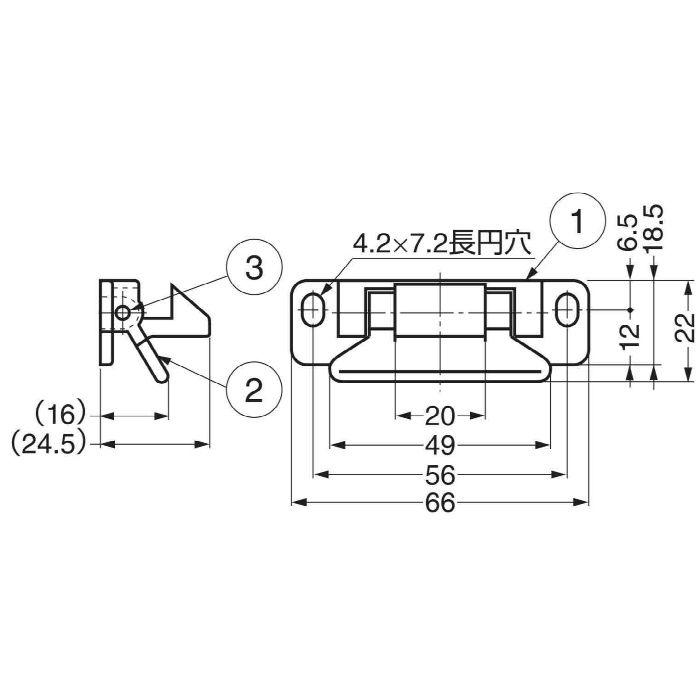 ランプ印レバーラッチLL-66 LL-66BR 140-051-028