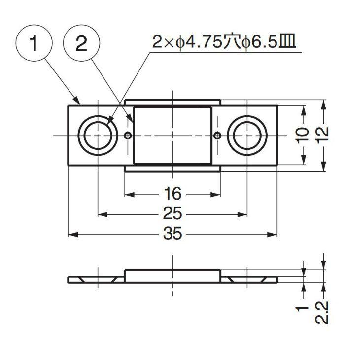 ランプ印平行極薄型マグネットキャッチ MC-YN001P 140-050-000