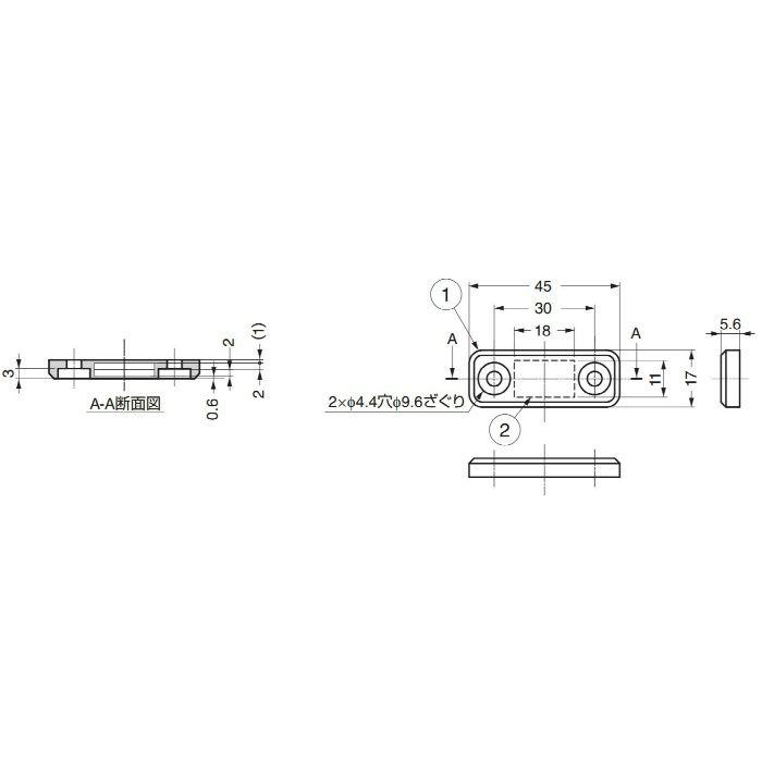 ランプ印クリーンマグネットキャッチMC-JM45(受け座別売り) MC-JM45WT 140-050-154
