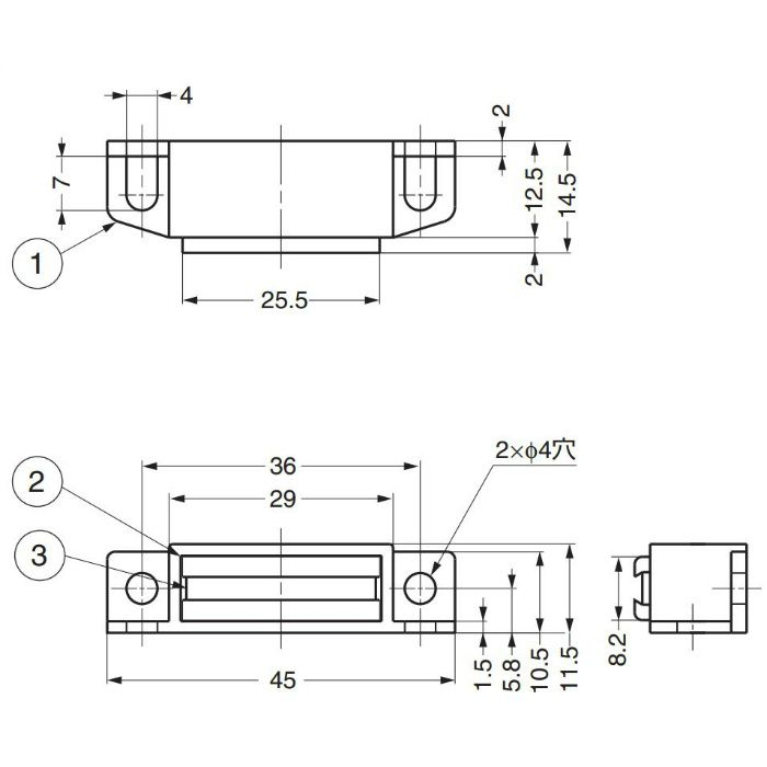 ランプ印マグネットキャッチMC0099型 MC0099WP 140-050-502