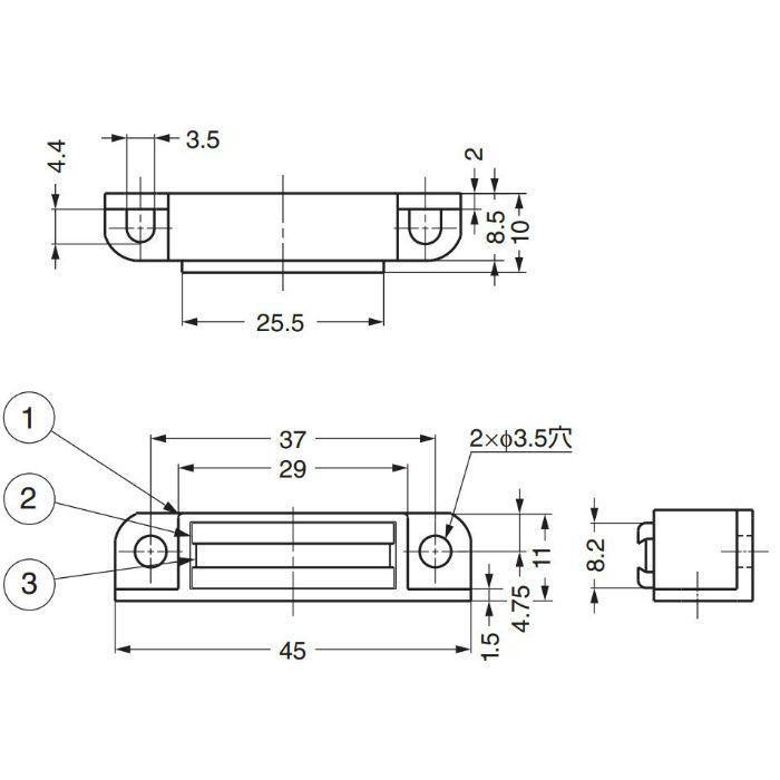 ランプ印家具用小型高吸着力タイプMC-110NF型 MC-110NF-GR 140-050-336