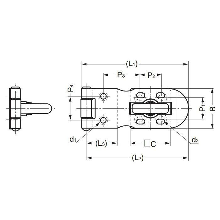 ランプ印ステンレス鋼製バーラッチHP型 HP40 140-050-224