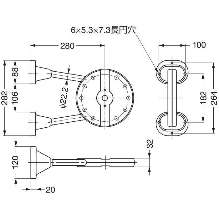 ランプ印リフトコートハンガートールマンブラケットTAB型 TAB-U 110-020-171