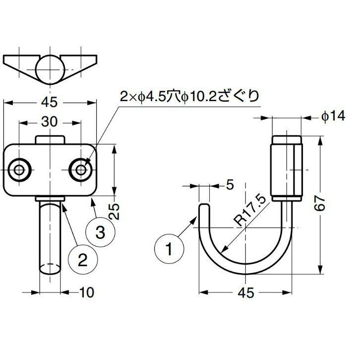ランプ印ステンレス鋼製フリクション式 ジャンボフック JF-T型 JF-T45 110-020-083