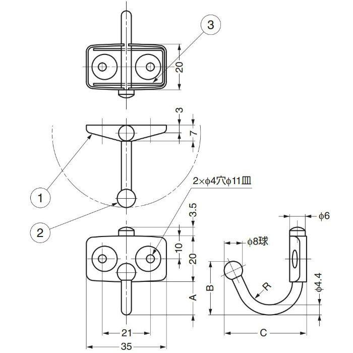 ランプ印ステンレス鋼製玉付回転フック TK型 TK-45 110-020-254
