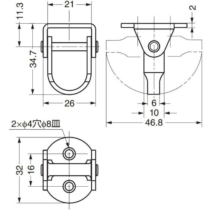 ランプ印ステンレス鋼製 フック RF-D35 RF-D35 110-020-249
