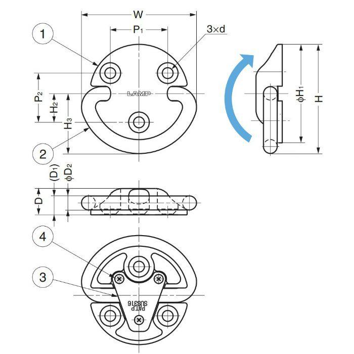 ランプ印ステンレス鋼(SUS316相当品)製 フォールディングパットアイ EY-R型 EY-R60 110-012-543