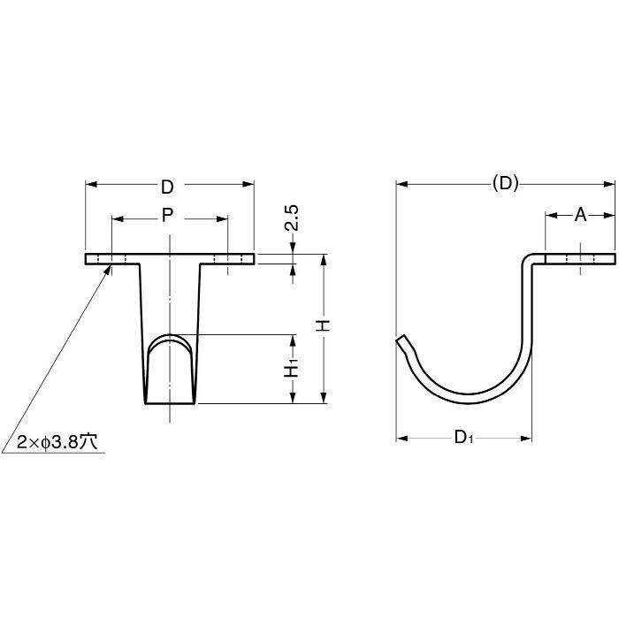 ランプ印ステンレス鋼製フック HJU型 HJU-50S 110-017-525
