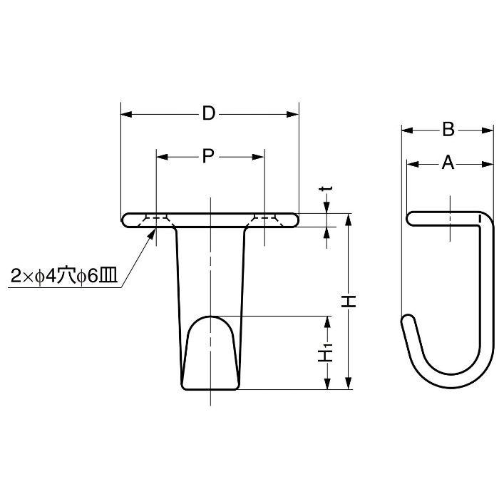 ランプ印ステンレス鋼製フック HJ型 HJ-30S 110-020-078