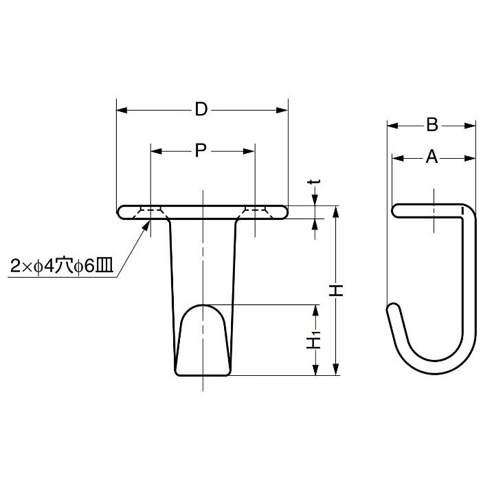 ランプ印ステンレス鋼製フック HJ型 HJ-50S 110-020-079
