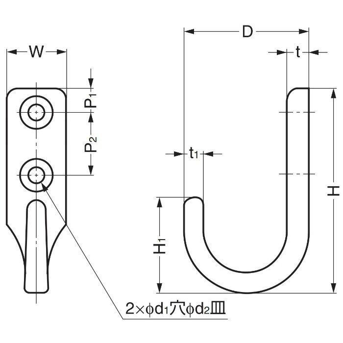 ランプ印ステンレス鋼製フック EL型 EL-25 110-026-004