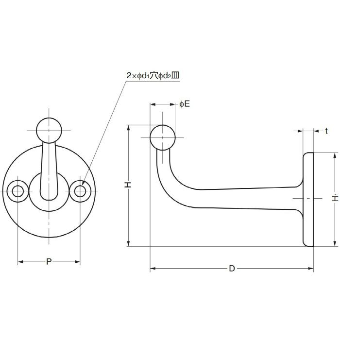 ランプ印コートフック FC型 FC-65 110-026-007