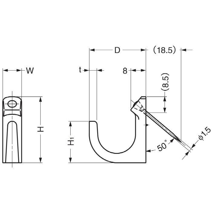 ランプ印ステンレス鋼製ピンどめフック PF型 PF-22 110-020-500
