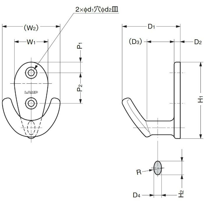 ランプ印ステンレス鋼(SUS316相当品)製フック EU型 EU-50 110-020-270