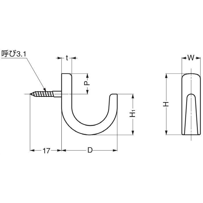 ランプ印ステンレス鋼製コート掛 C型 CL-30 110-026-011
