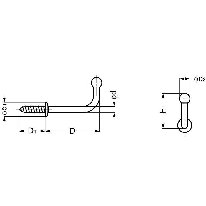 ランプ印ステンレス鋼製玉付フック TY型 TY-40 110-020-050