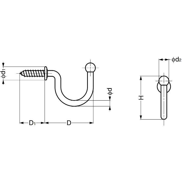 ランプ印ステンレス鋼製玉付フック TF型 TF-20 110-020-055