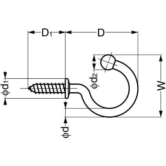 ランプ印ステンレス鋼製玉付フック TL型 TL-20 110-020-063