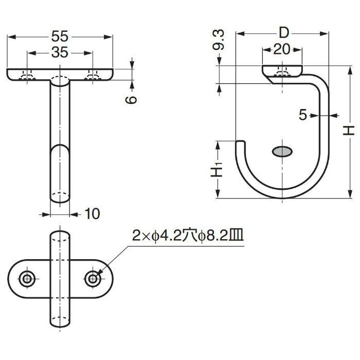 ランプ印ステンレス鋼製フック DS-H型 DS-H-60 110-020-206
