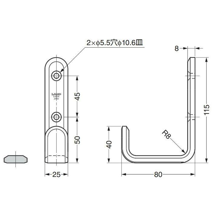 ランプ印ステンレス鋼製フック XL-SF型 XL-SF-115-M 110-020-143