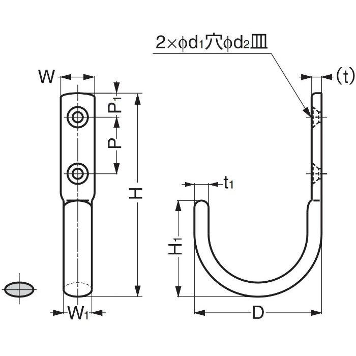 ランプ印ステンレス鋼製ジャンボフック JF110M JF110M 110-020-073