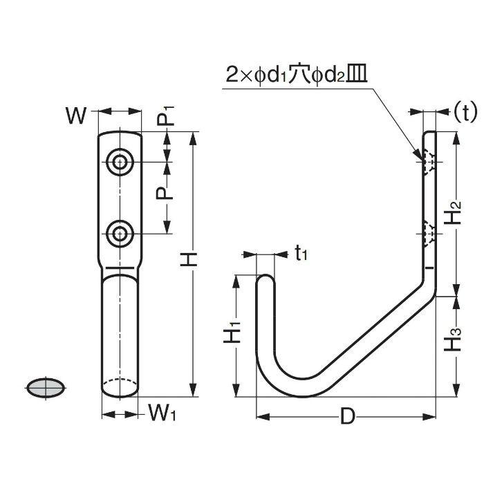 ランプ印ステンレス鋼製ジャンボフック JF80M JF80M 110-020-044