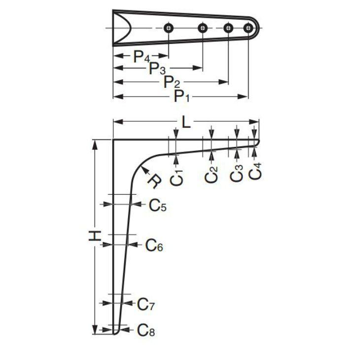 ランプ印ステンレス鋼製棚受TT型、鋼製棚受TTK型幅広タイプ TT-250 120-031-616
