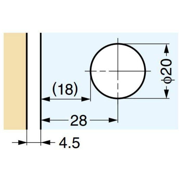 LAMP キャッチ付ガラス丁番 GH-450-CR