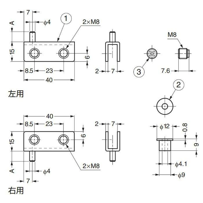 軸吊ガラス丁番 GPH型 インセット扉用(左用) GPH-40L-G 170-080-033