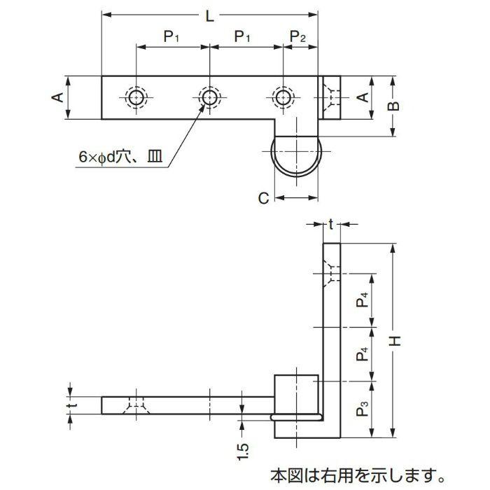 LAMP Pヒンジアングル枠型 PAW-60 インセット扉用 PAW-60 1セット 170-090-975