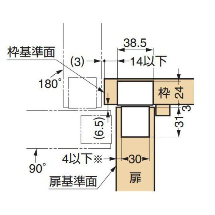 LAMP 建築ドア用隠し丁番 HES-3038BK型 HES-3038BK SC 170-091-015